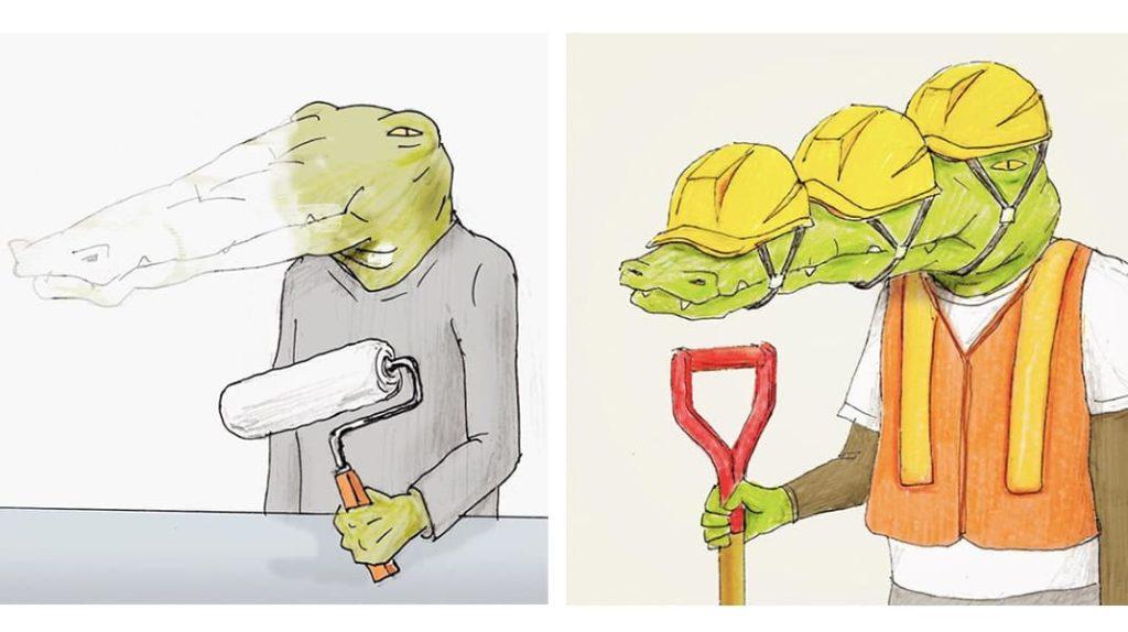 Как тяжело жить в мире людей, если ты нарисованный крокодил прораб ремонт