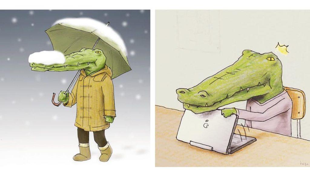 Крокодил и погода, крокодил и ноутбук