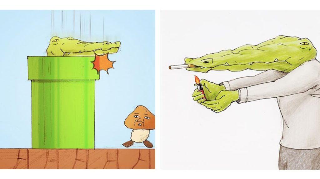 Крокодил марио, крокодил и вредные привычки