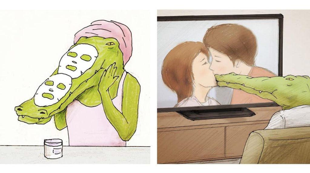 Нарисованный крокодил и маска для лица, крокодил и сериал