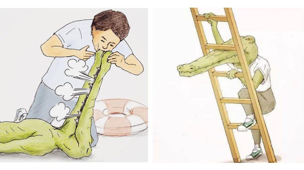 Нарисованный крокодил искуственное дыхание, крокодил и лестница ремонт