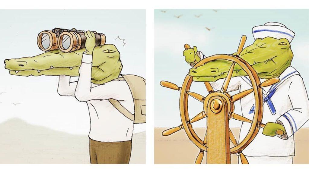 Нарисованный крокодил путешественник