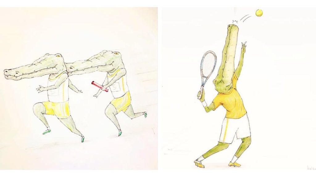 Нарисованный крокодил спорт эстафета, большой теннис