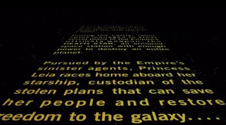 Желтые буквы в Звездных войнах