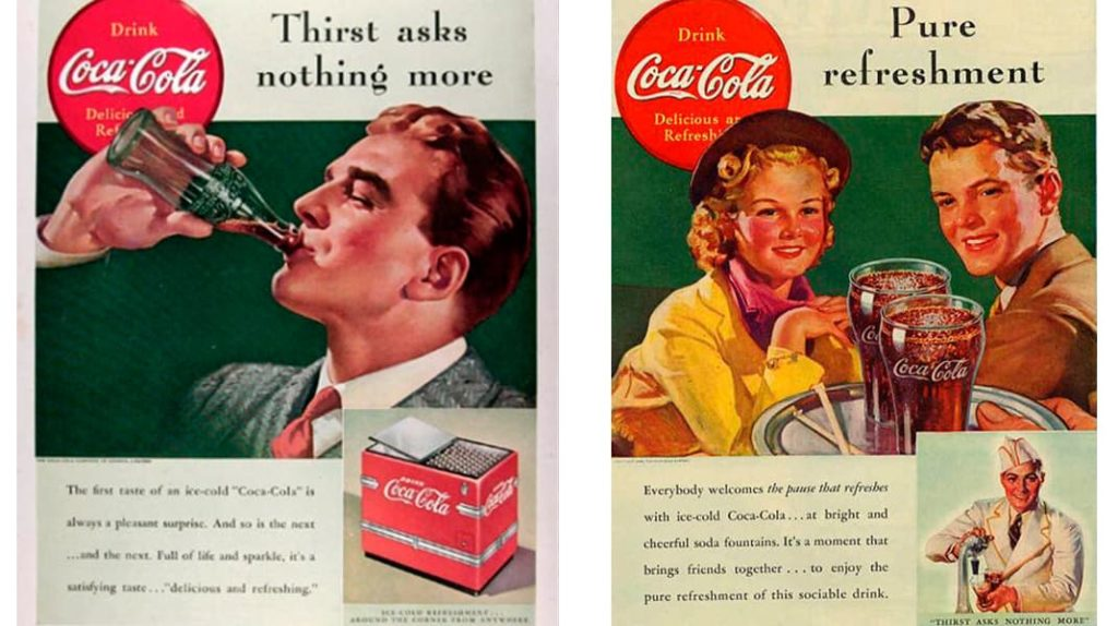 Кока-Кола старые плакаты реклама