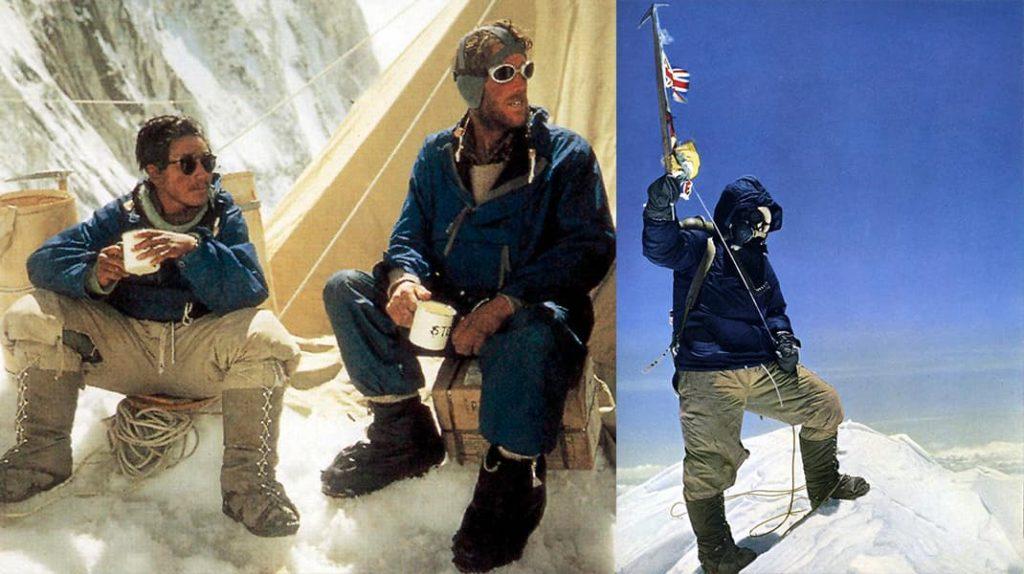 Тенцинг Норгей и Эдмунд Хиллари в лагере, Тенцинг Норгей на вершине Эвереста