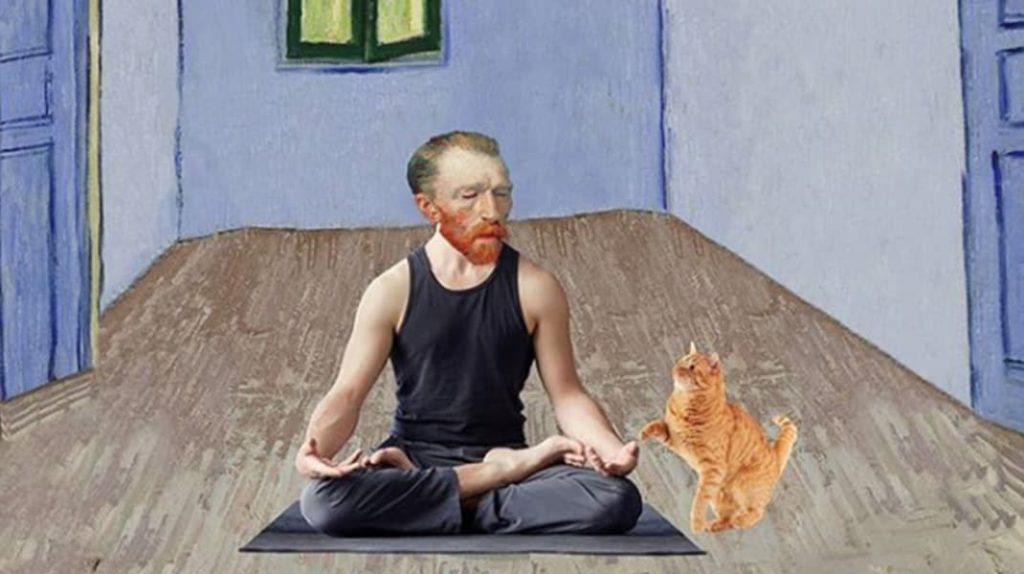 Йога, Ван Гог, спальня Ван Гога, котик