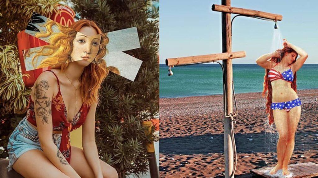 Рыжая девушка, пляж, лето, Венера
