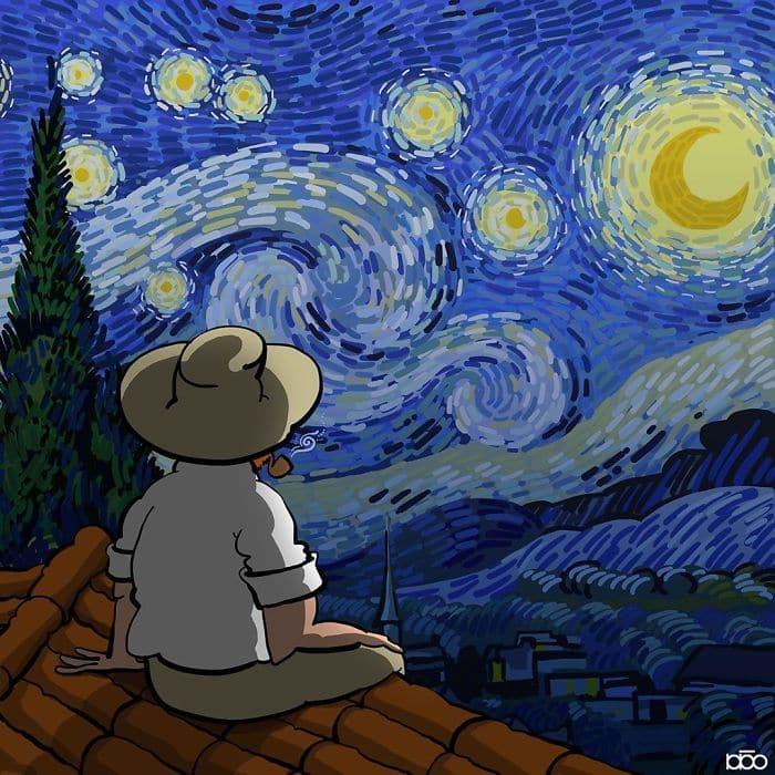 Алиреза Карими Могаддам, ночь Ван Гог, лайфхаб, иллюстрация,  современное искусство, lifehub