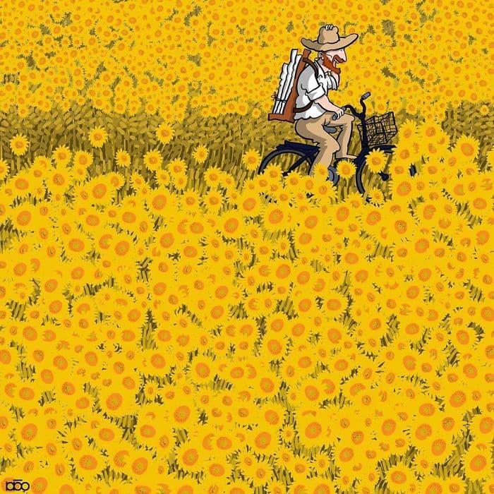 Алиреза Карими Могаддам, подсолнухи Ван Гога, лайфхаб, иллюстрация,  современное искусство, lifehub