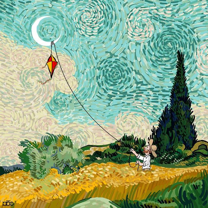Алиреза Карими Могаддам, поле, воздушный змей, лайфхаб, иллюстрация,  современное искусство, lifehub