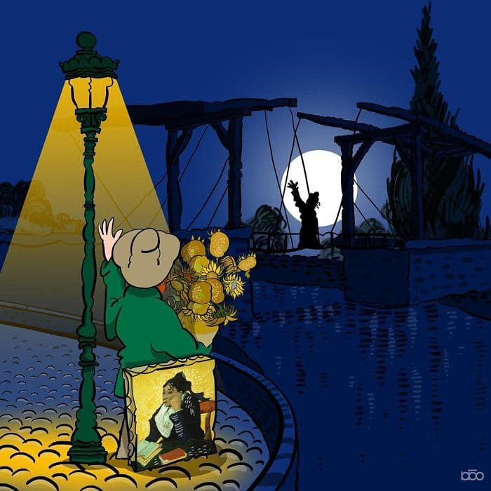 Алиреза Карими Могаддам, Ван Гог, фонарь, подсолнухи Ван Гога, лайфхаб, иллюстрация,  современное искусство, lifehub