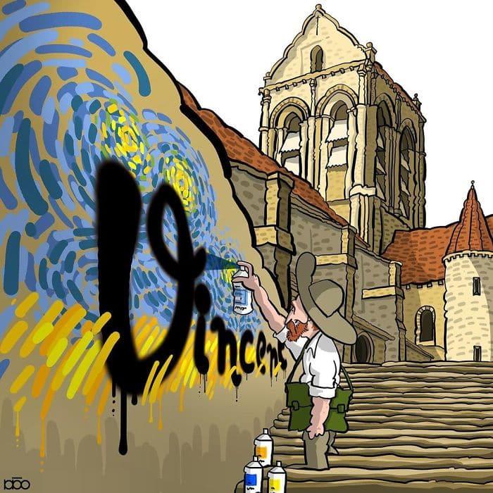 Алиреза Карими Могаддам, Ван Гог, граффити, лайфхаб, иллюстрация,  современное искусство, lifehub