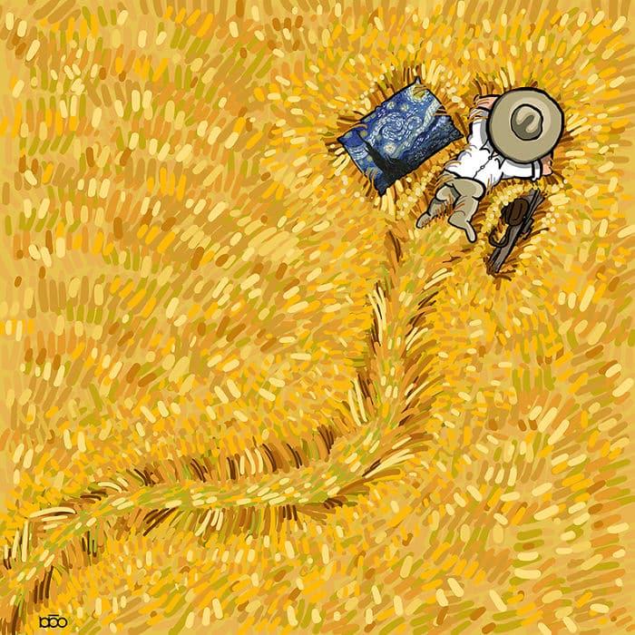 Алиреза Карими Могаддам, Ван Гог, лайфхаб, поле, иллюстрация,  современное искусство, lifehub