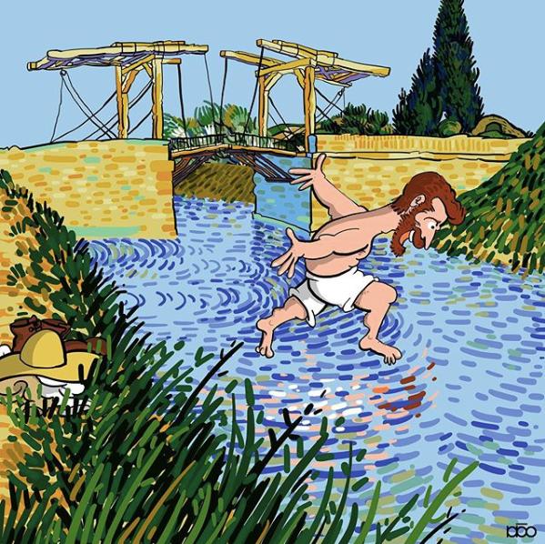 Алиреза Карими Могаддам, Ван Гог, мост, лайфхаб, иллюстрация,  современное искусство, lifehub
