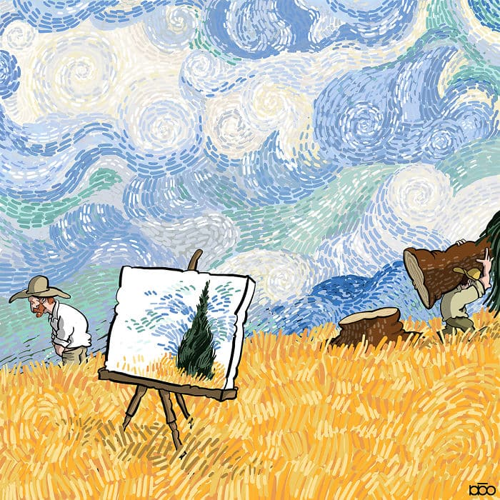 Алиреза Карими Могаддам, Ван Гог, поле, лайфхаб, иллюстрация,  современное искусство, lifehub, каррикатура