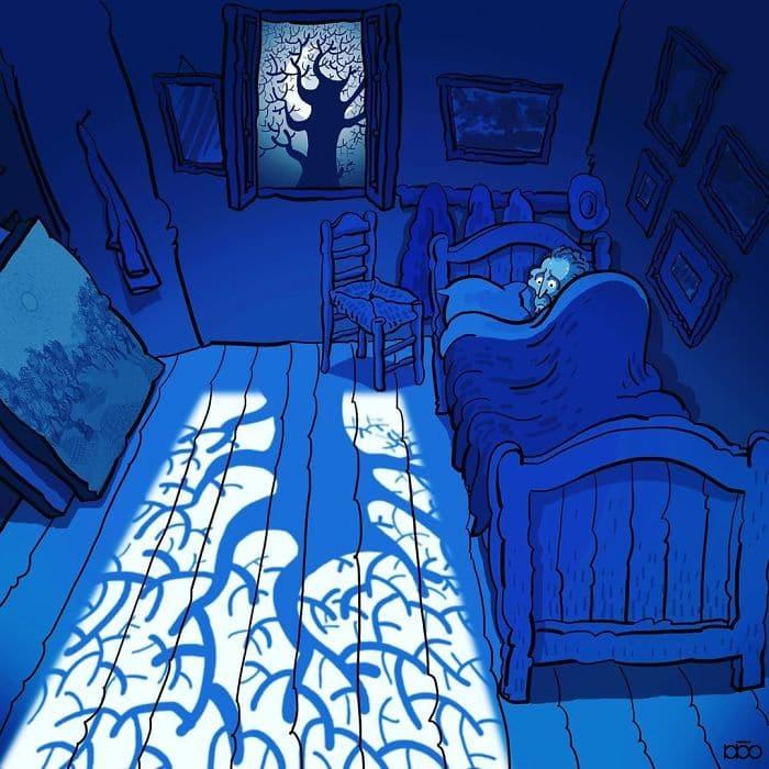 Алиреза Карими Могаддам, Ван Гог, спальня в Арле, лайфхаб, иллюстрация,  современное искусство, lifehub