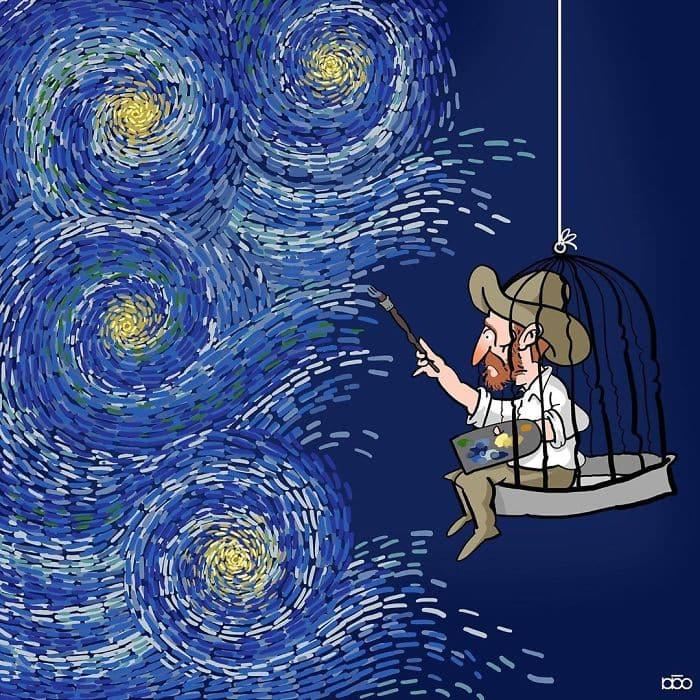 Алиреза Карими Могаддам, Ван Гог, звездная ночь, лайфхаб, иллюстрация,  современное искусство, lifehub