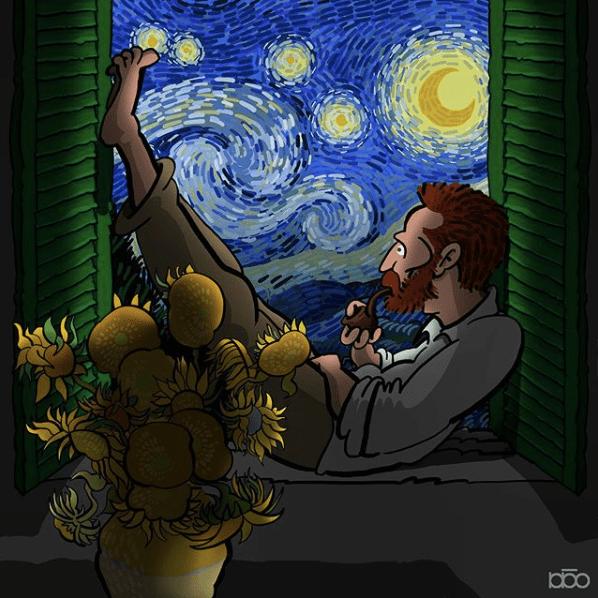 Алиреза Карими Могаддам, Звездная ночь, лайфхаб, иллюстрация,  современное искусство, lifehub