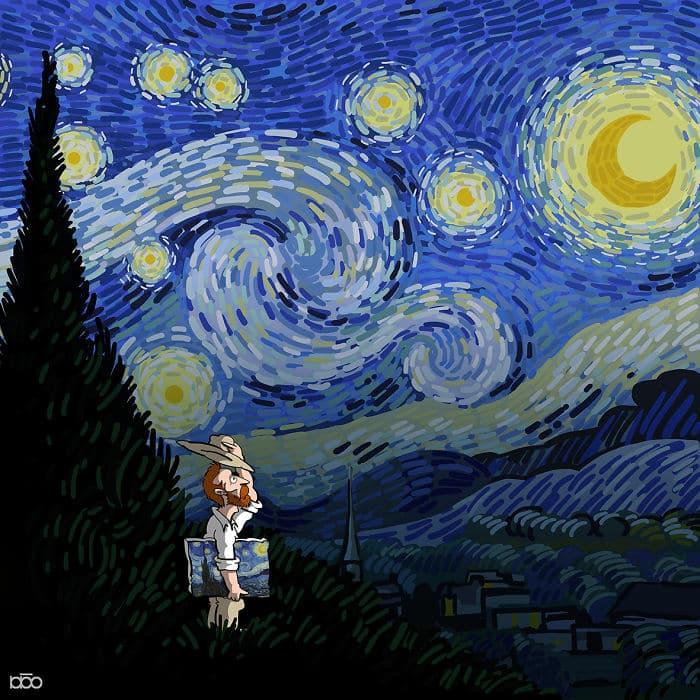 Алиреза Карими Могаддам, звездная ночь Ван Гог, лайфхаб, иллюстрация,  современное искусство, lifehub