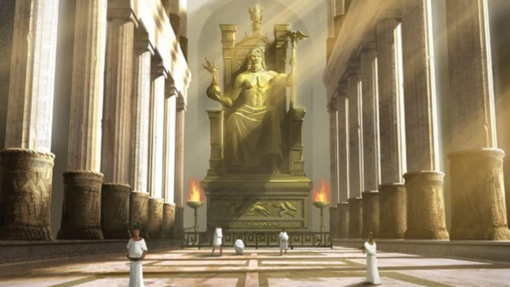 Статуя Зевса в Олимпии, чудо света, бог Зевс, Олимпия, Греция, Олимпийские игры, архитектор Фидий, храм Зевса, хрисоэлефантинная техника