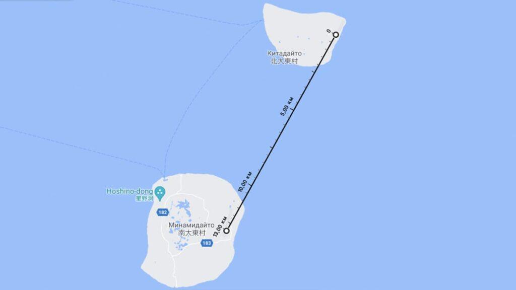 Самый короткий полет на самолете, Японские острова, Китадайто, Минамидайто, лайфхаб, lifehub, карта Google, путешествия, авиарейс, туризм