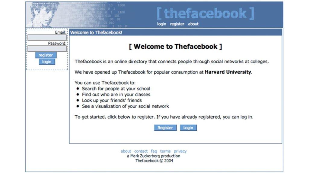 Первая страница Facebook 2004 год, история социальной сети Facebook, фейсбук, лайфхаб, lifehub