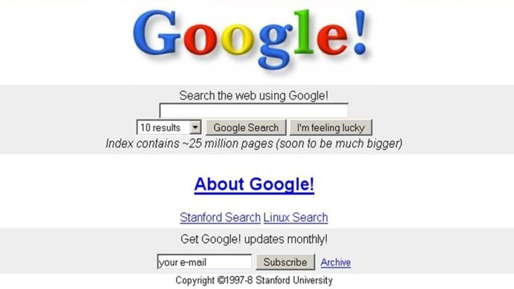 Поисковая система Google 1997 год, гугл, гугл в 1998 году, лайфхаб, гугол, googol, первая страница гугл, lifehub